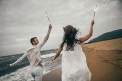 Happy lovers. Lovers enjoy life and love each other Stock Image