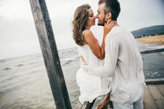 Happy lovers. Lovers enjoy life and love each other Royalty Free Stock Images