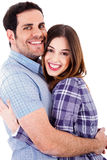 Happy lovers hug each other. On a isolated white background Stock Photos