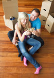 Happy lovers moving house and drinking champagne Stock Images