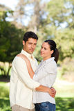 Happy lovers in the park Stock Photography