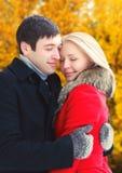 Happy lovers romantic couple hugs in autumn royalty free stock photos