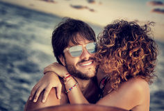 Happy lovers sailing Royalty Free Stock Image