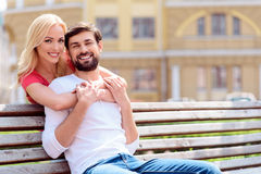 Happy lovers spending time together Stock Photography