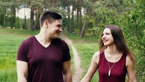 Happy lovers walking in a forest, spending great time together, talking and laughing. stock video