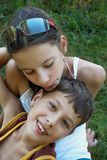 Happy and loving children Stock Images