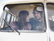 Happy Loving Couple In Campervan Royalty Free Stock Image