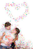 Happy loving couple in confetti Stock Images