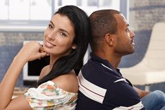 Happy loving couple at home smiling Royalty Free Stock Photography