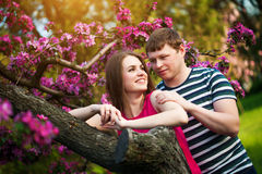 Happy loving couple are hugging in the orchard royalty free stock images