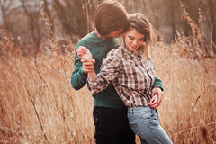 Free Happy Loving Couple On The Walk In Early Spring Field Stock Image - 54609511