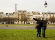 Happy loving couple in Paris Royalty Free Stock Images