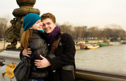 Happy loving couple in Paris Stock Images
