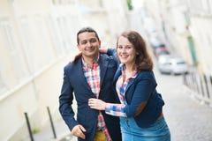 Happy loving couple on Parisian street Stock Photography