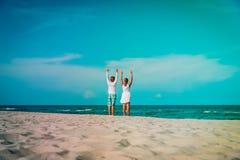 Happy loving couple on tropical beach vacation royalty free stock photo