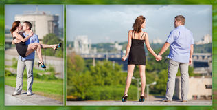 Happy loving couple on vacation also walks in the city Stock Photography