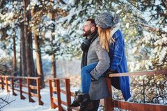 Happy loving couple walking in snowy winter forest, spending christmas vacation together. Stock Photography