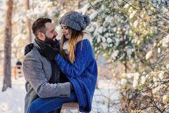 Happy loving couple walking in snowy winter forest, spending christmas vacation together. Outdoor seasonal activities. Royalty Free Stock Image