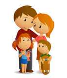 Happy loving family. Vector illustration. Happy family with dad, mom, daughter and son royalty free illustration