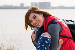 Happy loving family. mother and child playing royalty free stock photography