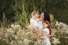 Happy loving family.Concept of happy family, childhood, parenthood royalty free stock photo