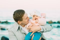 Happy loving family. Father and his daughter child girl playing together. royalty free stock photo