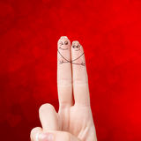 Happy loving fingers hugging Royalty Free Stock Photography