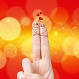 Happy loving fingers hugging Royalty Free Stock Photo