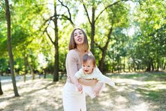 Free Happy Loving Mother And Her Baby Having Fun Outdoors In The Park Stock Photos - 217352463