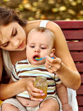 Happy loving mother and her baby outdoors Royalty Free Stock Photography