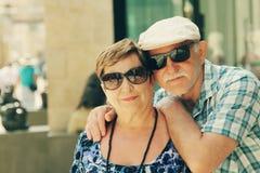 Happy loving senior couple enjoying vacation Stock Image