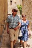 Happy loving senior couple enjoying vacation Stock Photo