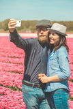 Happy loving tourists taking selfie Stock Photo