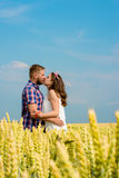 Happy loving young adult couple spending time on the field on sunny day. royalty free stock photo