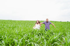 Happy loving young adult couple spending time on the field on sunny day Royalty Free Stock Images