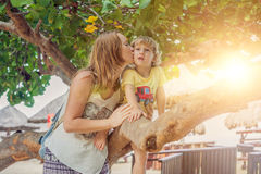 Happy loving young mother kisses her toddler son on the walk. Son sitting on tree branch and the rays of the setting sun Stock Images