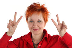 Happy Lucky Young Woman Stock Image