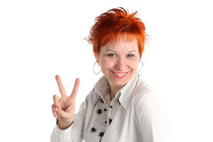 Happy lucky young woman Stock Photography