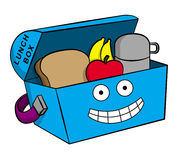 Happy lunchbox. Illustration of a cartoon lunch box carrying food and drink Stock Photo