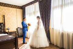 Happy luxury bride and groom standing at window light in rich room.  Stock Photo