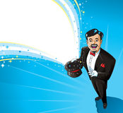 Happy Magician. Magic flowing out of his hat.  Text can be used in the white portion Stock Photos
