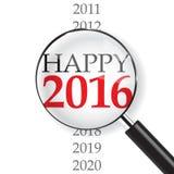 Happy 2016. & Magnifer on white background royalty free illustration