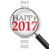 Happy 2017 with Magnifer. Happy year 2017 with magnifer on white background stock illustration