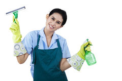 Happy maid hotel. Portrait of happy maid hotel holding cleaning tools Royalty Free Stock Photo