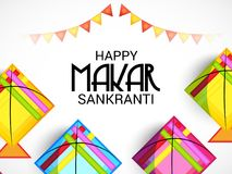Happy Makar Sankranti Festival Celebration. Vector Illustration of a Background with bonfire for Happy Makar Sankranti Festival Celebration with colorful kites Stock Image