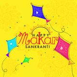 Happy Makar Sankranti greeting card design with doodle illustration of flying kites on yellow floral background. royalty free illustration