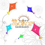 Happy Makar Sankranti greeting card design with doodle illustration of flying kites on white floral background. royalty free illustration