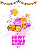 Happy Makar Sankranti holiday India festival sale and promotion background. Vector illustration of Happy Makar Sankranti holiday India festival sale and Stock Images