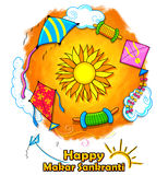 Happy Makar Sankranti wallpaper with colorful kite string for festival of India Royalty Free Stock Images