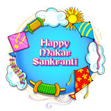 Happy Makar Sankranti wallpaper with colorful kite string for festival of India Stock Photos